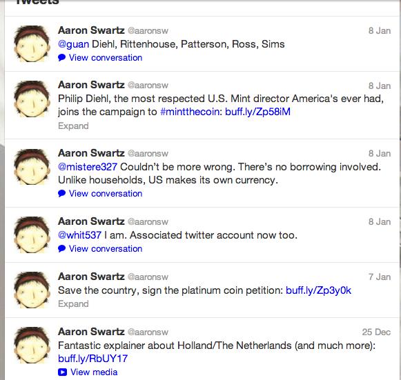 Swartz's last Tweets